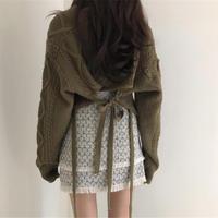 【即納】back ribbon knit
