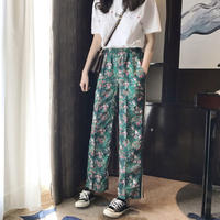 rétro Green print pants