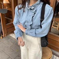 denim frill shirt