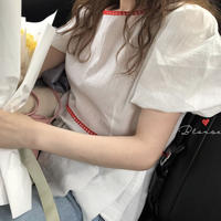 【Just \1000】puff sleeve line blouse