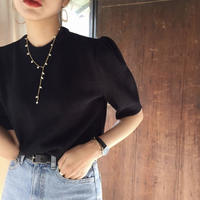 Simple black half knit