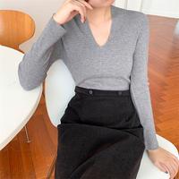 【即納】U neck knit