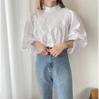 【クリックポスト◎】刺繍×スタンドカラー ボリューム袖ブラウス