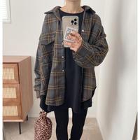 ヴィンテージ風チェック柄オーバーシャツ / Grey