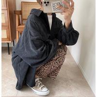コーデュロイ big shirt / Charcoal Grey