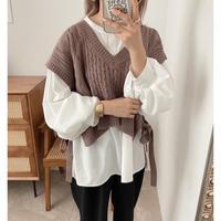 ケーブル編みショート丈knitベスト / 3color