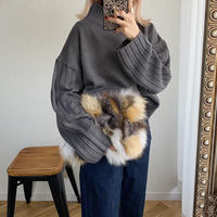 ショート丈ワイドリブ切替knitトップス チャコールグレー