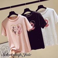 フラミンゴビーズTシャツ 3色展開