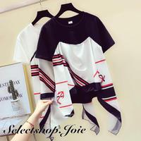 【Black Mサイズ即納】マリンデザインスカーフドッキングTシャツ 2色展開