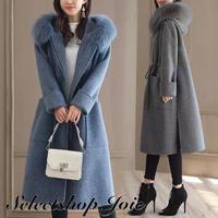 【Blue Lサイズ即納】ロングウールコート 2色展開