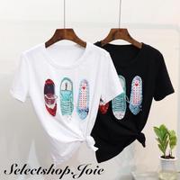 Sneakerスパンコール Tシャツ 2色展開