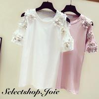 【White Mサイズ即納】オープンショルダー フラワーTシャツ 2色展開