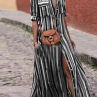 Striped Long Maxi Print Dress