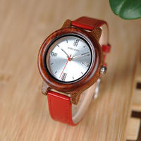 木製ケース 腕時計 レッド/ピンク