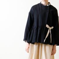 リネン・ウール・セミカシュクール・ジャケット/ブラック