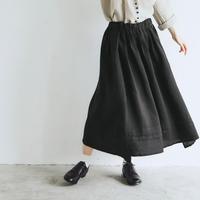 キャンバスリネン・ロングギャザースカート/ブラック