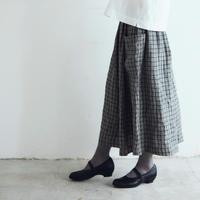 オルドネ・チェックリネン・ポッシュ・スカート/グレーXブラック