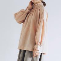 フレンチリネン・フリル・ギャザー・プルオーバー/スモークピンク