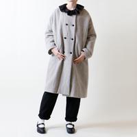 ウールリネン・ヘリンボーン・ダブルボタン・コート/グレー