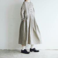 オルドネ・チェックリネン・ワンピース/ベージュxブラック