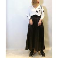【MONiLE(モニール)】リブウエストのフェイクレザープリーツスカート
