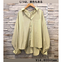 【MONiLE(モニーレ)】ストライプドッキングリラックスシャツ