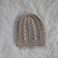 透かし編みのニット帽(ベージュ)