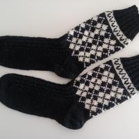 手編みの靴下(アーガイル )charcoal grey