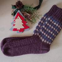 千鳥格子の靴下(プラム、ジーンズブルー、オフホワイト)