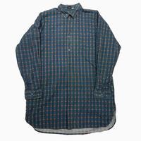 vintage euro grand farther check cotton shirt #b