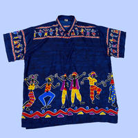 vintage euro dance summer satin shirt