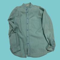 vintage euro seersucker band collar shirt