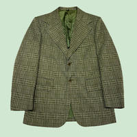 vintage us 80s check  poly jacket #B