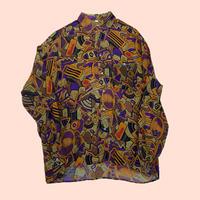 vintage euro viscose rayon print shirt