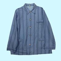 vintage euro Blue stripe pajama shirt