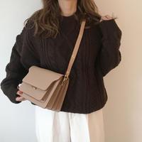leather box bag(beige)