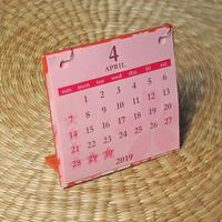桜カレンダー 4月はじまり[2019.4~2020.3](オレンジ)