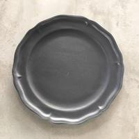 亀田文 8寸ピューターリム皿 ネイビーグレー