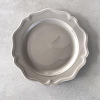 亀田文 7寸ピューターリム皿 ススグレー