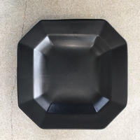 亀田文 7寸8角リム浅鉢 ブラック