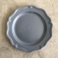 亀田文 7寸ピューターリム皿 ネイビーグレー