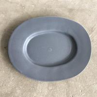 亀田文 オーバル皿(小)ネイビーグレー