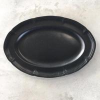 亀田文 ピューターオーバルリム皿 ブラック