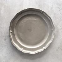 亀田文 8寸ピューターリム皿 ススグレー