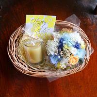 プリザーブドフラワーミニバスケット(ブルーオレンジ)&蜜蝋グラスキャンドル(オレンジ)GIFTセット