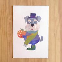 ポストカード《犬とオレンジ》