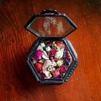 季節のドライフラワーガラスボックス ブラック真鍮(六角形)