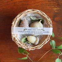 ミツロウ100% 木の実キャンドル3種GIFT(バスケットタイプ)
