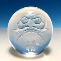 天然水晶 だるま彫刻     彫刻:日本