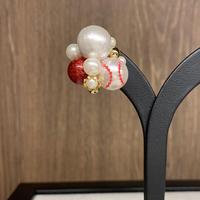 野球ボール(球団応援カラー・赤×白)